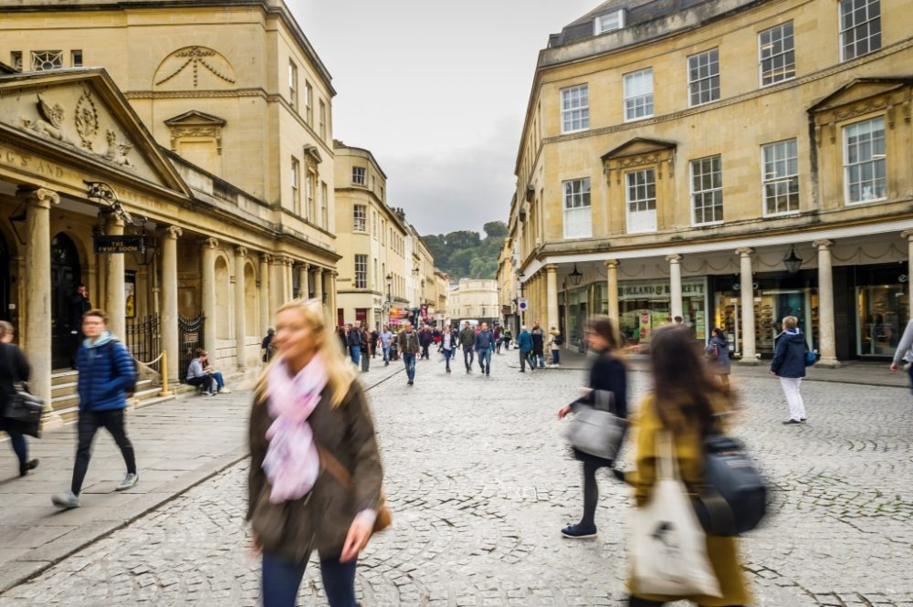 Blurred people in Bath