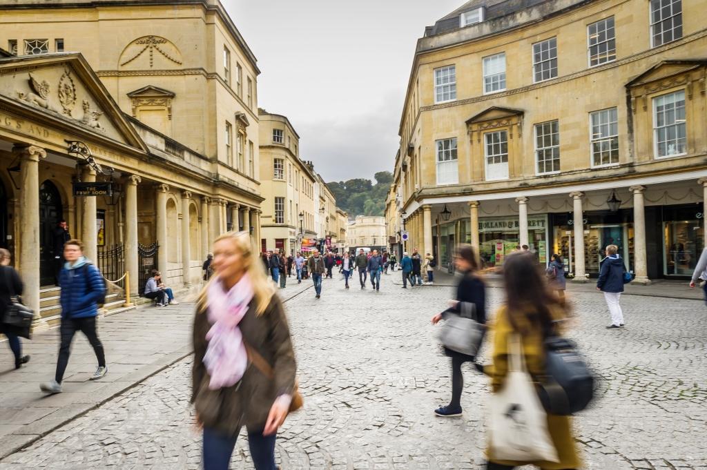 Blurred people in Bath